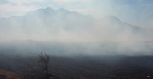Fumaça da queimada da turfa toma conta da área do Mestre Álvaro, Serra. ES