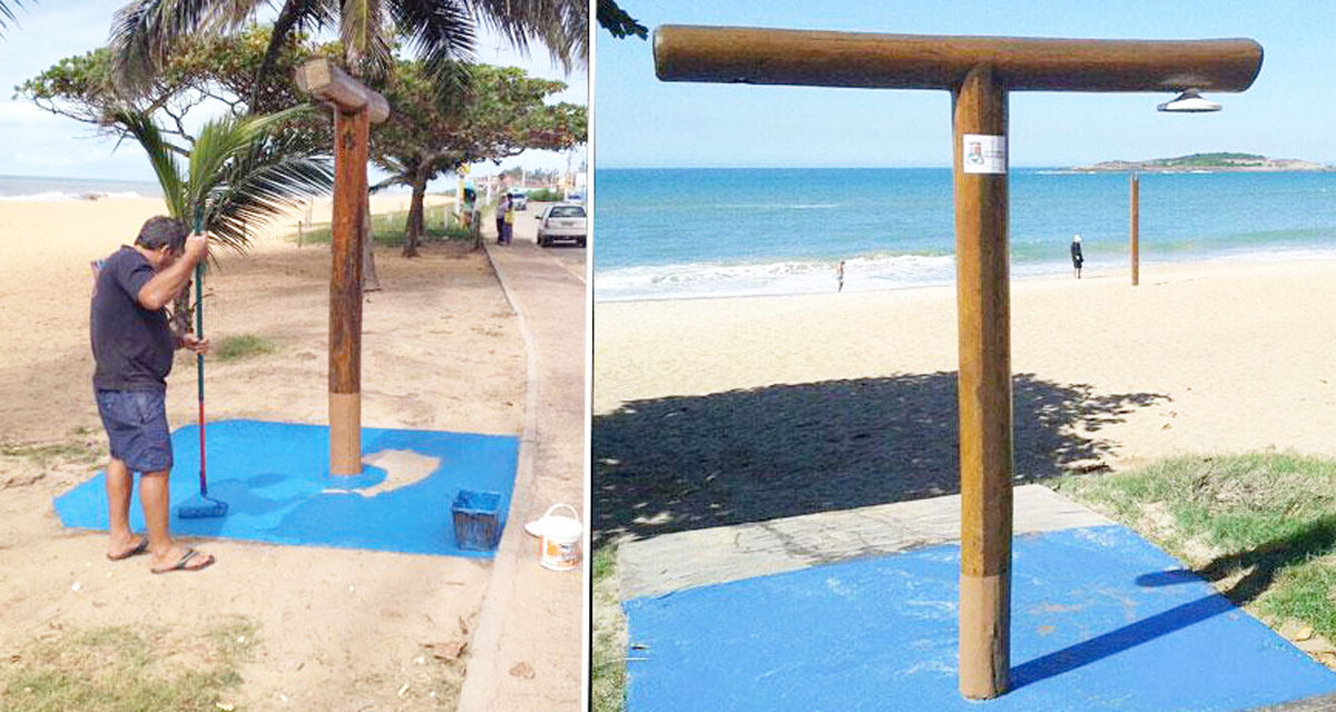 Chuveiros das praias de Vila Velha prontos para o verão