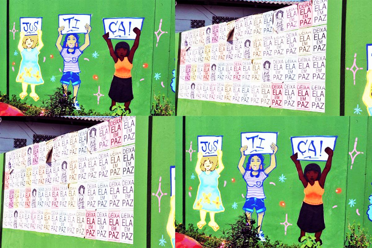 Artistas do CRJ e voluntárias usam grafite para colorir Delegacia da Mulher